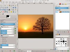 Tutorial Geek: Draw a sunset with tree silhouette landscape scene using Inkscape and the Gimp