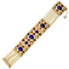 Gold archeological revival bracelet with lapis lazuli stones, American, c. 1860-70.