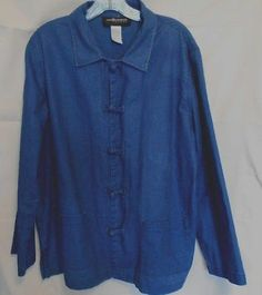 Sag Harbor Sport Blue Denim Long Sleeve Jacket Medium Loop Closure
