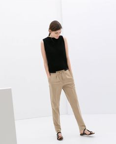Image 1 of trousers with elastic waistband from zara Mode Ab 50, Estilo Hippy, Minimalist Fashion Women, Looks Street Style, Business Casual Outfits, Womens Fashion For Work, Mode Inspiration, Fashion Over, Women's Fashion Dresses
