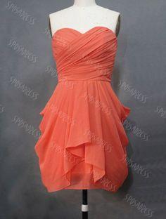 short+bridesmaid+dress+coral+bridesmaid+dress+by+sposadress,+$99.99
