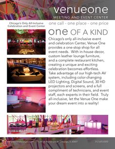 Venue One- Chicago's all inclusive event and celebration center. B'nai Mitzvahs, Weddings and special events.  www.milestonesmagazine.com www.venueonechicago.com