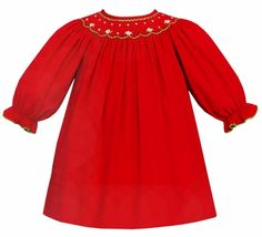 1cfba0d1c Rosalina Girls Smocked Christmas Trees Bishop Dress - Red
