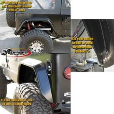 Gen-Right TFR-1000 Rear 3 Inch Tube Fender For 1976-06 Jeep 6540cc717e46