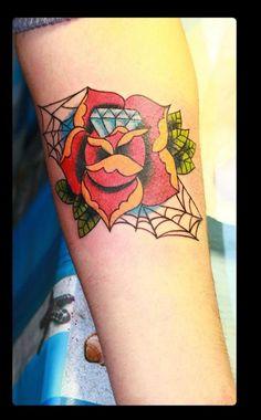 neo traditional tattoo #old school tattoo #rose tattoo #flowers tattoo
