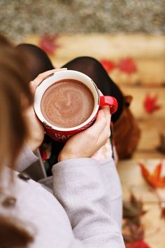 Hot chocolate outdoors winter autumn leaves fall sweater steps cozy cup seasons