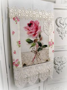Guest towel Victorian single stem pink rose