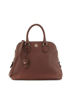 V21VV Tory Burch Robinson Pebbled Open Dome Satchel Bag, Dark Walnut