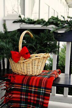 Nothing says Christmas like fresh greens & tartan. For the front porch! Tartan Christmas, Christmas Porch, Christmas Love, Country Christmas, All Things Christmas, Winter Christmas, Christmas Crafts, Christmas Decorations, England Christmas