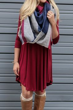 burgundy tunic dress and plaid scarf