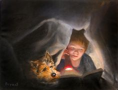 """""""Undercover Readers"""" by Les Bryant 2009. Childhood. Bedtime. Flashlight. Reading in secret."""