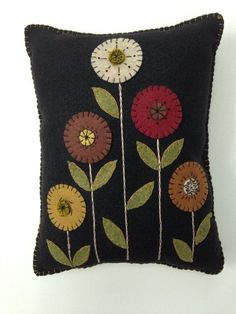 Penny Rug Flower Appliqued Pillow Wool Felt Pillow by FolkHome