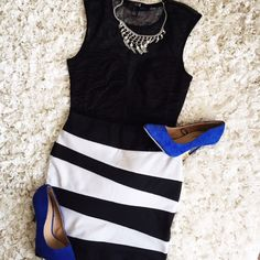 ♠️Black & White Striped Mini Skirt♣️ Step out in fierce mode with this fabulous skirt! Black and white stripes go with almost any color do you can wear it with different outfits! Skirts Mini