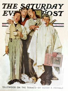 """The Barbershop Quartet"" by Norman Rockwell, Cover Illustration for   The Saturday Evening Post, Sep. 26, 1936"