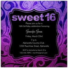 15 Best Sweet Sixteen Birthday Invitations Images
