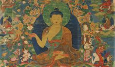 Buddha Shakyamuni (detail); Tibet; 18th century; Pigments on cloth; Rubin Museum of Art