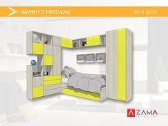 Posteľ a skrine do detskej izby na mieru v sviežej žltej farbe