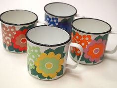 Arabia Finel Finland Enamel 4 Mugs Bright Decor, Vintage Kitchenware, Vintage Cups, Shabby, Teapots And Cups, Coffee Set, Ceramic Cups, Vintage Pottery, Lassi
