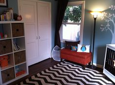 Black and white Chevron Rug in Nursery - #projectnursery