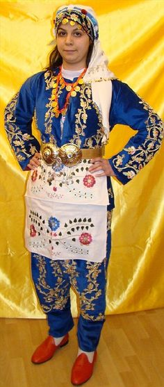 Traditional festive costume from the Silivri district (west of Istanbul).  Clothing style: 1925-1950. This is a recent workshop-made copy, as worn by folk dance groups.