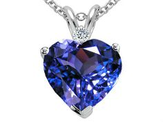 Tommaso Design(tm) 8mm Heart Shape Simulated Tanzanite And Genuine Diamond Heart Pendant in 14 kt White Gold