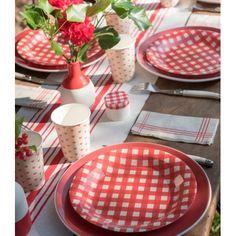 Assiette carton vichy rouge 22.5 cm les 10