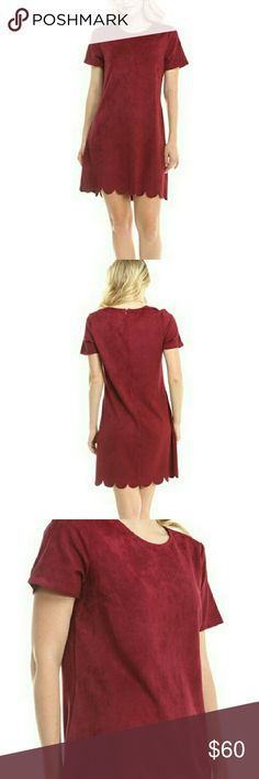 """🚨LOWEST PRICE🚨Red Suede Scalloped Dress - S/M/L Beautiful red suede short sleeved dress with scalloped hem detail. Can be dressed up or down.    Measurements    Size: Small  Length: 33"""" Bust: 34"""" Sleeve Length: 7.5""""  Size: Medium  Length: 34"""" Bust: 36"""" Sleeve Length: 8""""  Size: Large  Length: 35"""" Bust: 38"""" Sleeve Length: 8""""     Materials    92% polyester, 8% spandex. Moon Collection Dresses"""