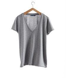 T-shirt femme col V en jersey de coton fluide gris Subway - Petit Bateau
