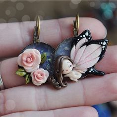 "681 curtidas, 7 comentários - I Capricci Di Colombina (@isa_colombina) no Instagram: ""*not avaible* #fairy #butterfly #rose #earrings #fimo #polymerclay #icapriccidicolombina #handmade"""