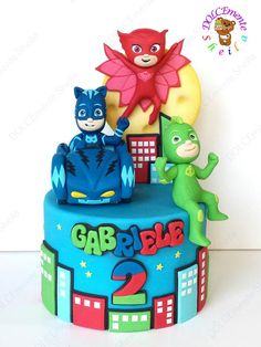 PJ Masks - cake by Sheila Laura Gallo - CakesDecor Pjmask Party, Party Fiesta, Festa Party, Pj Masks Birthday Cake, 3rd Birthday Cakes, 4th Birthday Parties, Birthday Ideas, Torta Pj Mask, Festa Pj Masks