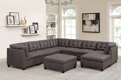 Poundex F845 9 pc Latitude run mckenny dark brown leather like fabric modular sectional sofa