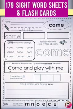 This bundle of sight word pages provide many ways to practice reading, handwriting, tracing, coloring, Sight Word Flashcards, Sight Word Worksheets, Dolch Sight Words, Sight Words List, First Grade Sight Words, First Grade Writing, Sight Word Practice, 1st Grade Worksheets, Writing Worksheets