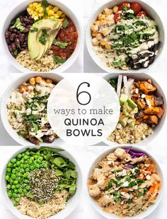 Here are 6 easy recipes for healthy quinoa bowls! These make delicious vegan, gluten-free lunch or dinner ideas. They're also great for meal prep too! Fun Easy Recipes, Healthy Recipes, Vegetarian Recipes, Easy Meals, Vegan Vegetarian, Diet Recipes, Recipes Dinner, Salad Recipes, Healthy Food