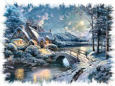 Moonlight Christmas - art, artwork, Christmas, cobblestone bridge, cottage, landscape, lights, moonlight, painting, river, scenery, snow, winter, woods
