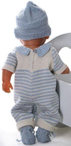 Baby Knitting Patterns Dress Knitting baby born clothes - Knitting a wonderful baby doll set Knitting Dolls Clothes, Knitted Dolls, Doll Clothes Patterns, Baby Knitting Patterns, Crochet For Boys, Crochet Baby, Baby Born Kleidung, Baby Doll Set, Baby Set