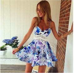 Flower Print Spaghetti Strap Sleeveless Open Back Short Dress - Oh Yours Fashion - 1