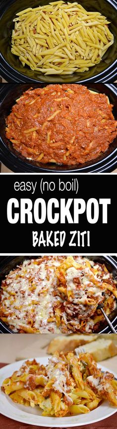 easy crockpot baked ziti recipe - no need to even cook the noodles first!