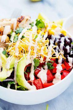 Southwest Chicken Salad   Creme De La Crumb Avocado Toast, Bacon Avocado, Avocado Chicken Salad, Avocado Ranch, Broccoli Salad, Vegetarian Salad Recipes, Salad Recipes For Dinner, Healthy Recipes, Lunch Recipes