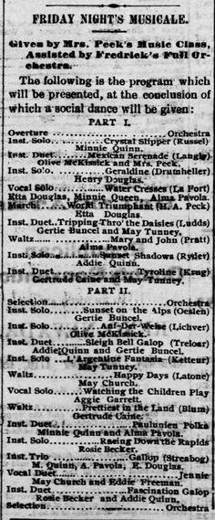 """Reno Gazette-Journal, 7 Sep 1892, Wed, Main Edition  Gertrude Buncel (Gertie) performs instrumental duet of """"Sleigh Bell Gallop"""" at music class musical."""
