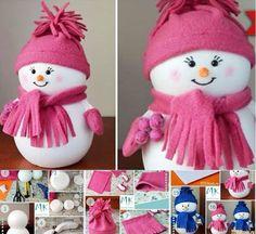 Snowman made from foam balls