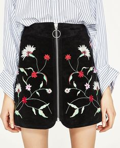 SUEDE MINI SKIRT WITH EMBROIDERY