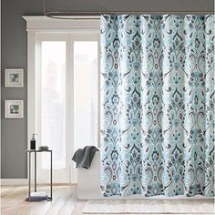 Sky Blue Abstract Floral Pattern Shower Curtain Microfiber Polyester Bolivian Floral Themed Classic Elegant Design Indie Hippie Abstract Flowers