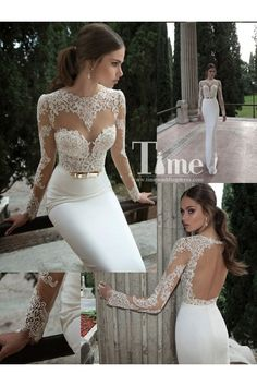 Unique Long Sleeve Sexy Open Back See-Through Appliques Lace Wedding Dresses 2014 New Arrival WD140319