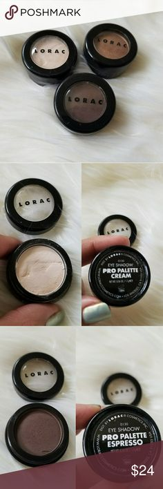 Lorac Trio Bundle Eyeshadows Lorac eyeshadows pots Pro Palette Cream Pro Palette Espresso Pro To Go Chai  The pro palette cream has a dent and it is been used more than the other two. The pro to go chai hasn't been used but swatched.  🙋 I may accept reasonable offers  💌📬I deliver the next business day or if it is the order is early the same day. I packed all my items with love and extra care. Lorac Makeup Eyeshadow