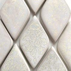 Prism White Diamond Tiles in Crystalline White Glaze Accent