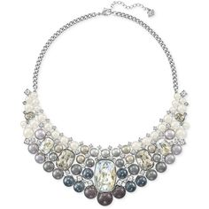 Swarovski Silver-Tone Ombre Imitation Pearl and Crystal Collar... ($399) ❤ liked on Polyvore featuring jewelry, necklaces, silver, long faux pearl necklace, silver tone jewelry, fake pearl necklace, long fake pearl necklace and imitation pearl necklace