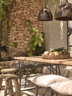 In collaboration with Design Hotels, design studio Dreimeta has converted a once private residence into a nine guest room hotel, La Granja in Ibiza. Pergola Designs, Patio Design, Porches, Plastic Garden Furniture, Outdoor Furniture, Design Toscano, Rue Verte, Mediterranean Home Decor, Wall Cladding