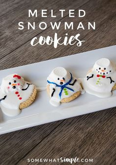 Melted Snowman Cookies These melted snowman cookies are an easy winter treat your kids, coworkers, or party guests will LOVE!These melted snowman cookies are an easy winter treat your kids, coworkers, or party guests will LOVE! Snowman Sugar Cookies Recipe, Favorite Sugar Cookie Recipe, Chocolate Sugar Cookie Recipe, Melted Snowman Cookies, Christmas Goodies, Christmas Treats, Christmas Baking, Christmas Recipes, Christmas Diy