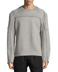 JUUN.J Reverse-Seam Mélange Neoprene Sweatshirt, Gray. #juun.j #cloth #