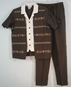 Alfred Dunner Petite Shirt Pants Set Brown Gauze Faux Jacket Embroidery Beads 8P #AlfredDunner #PantSets